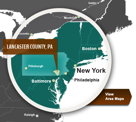Lancaster County, PA - Located approximately 80 miles from Baltimore and Philadelphia and 160 miles from New York City, Lancaster County boasts close proximity to major East Coast metropolitan markets. - EDC Lancaster